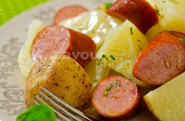 Boiled Dinner with Smoked Sausage (vertical)