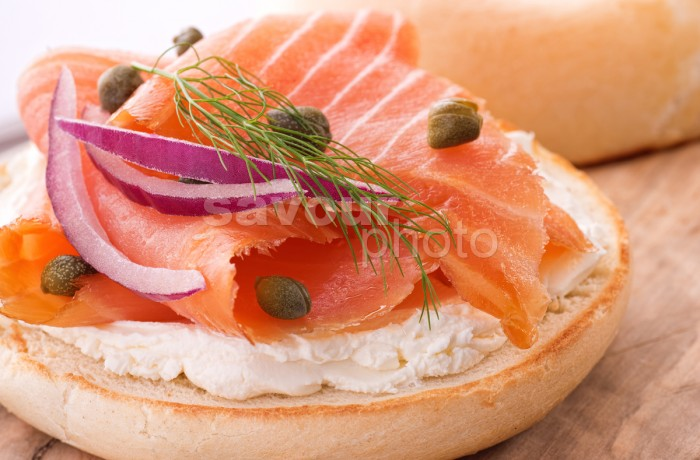 Bagel with Smoked Salmon and Cream Cheese (vertical)