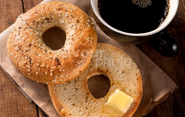 Toasted Bagel with Black Coffee (vertical)