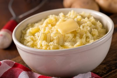 Mashed Potatoes with Melted Butter Stock Photo