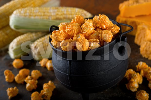 Cheddar Cheese Kettle Corn Popcorn Stock Photo