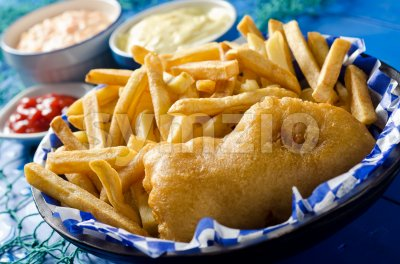 One Piece Fish and Chips Stock Photo