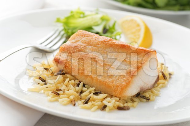 Pan Seared Fish Stock Photo