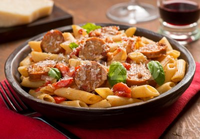 Pasta with Sausage Stock Photo
