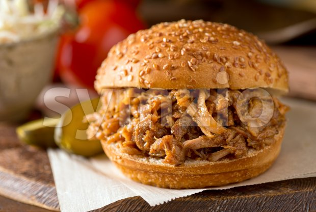 Pulled Pork Sandwich Stock Photo