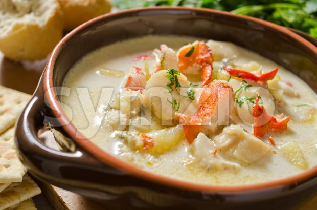 Seafood Chowder Stock Photo