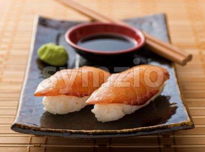 Smoked Salmon Sushi Nigiri Stock Photo