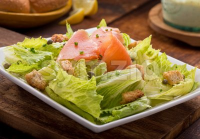 Smoked Salmon Salad Stock Photo