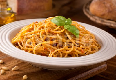 Spaghetti with Sicilian Pesto Stock Photo