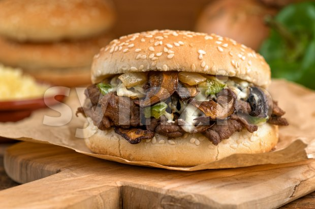 Steak and Mushroom Melt Stock Photo