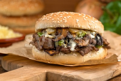 Steak and Mushroom Melt Stock Photo