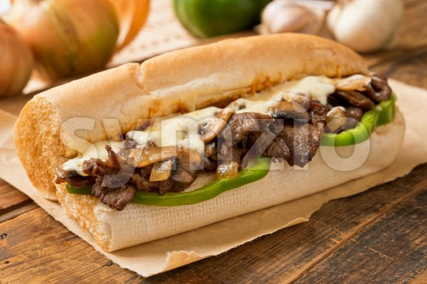 Steak and Cheese Sub Stock Photo