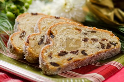 Stollen Fruit Cake Stock Photo