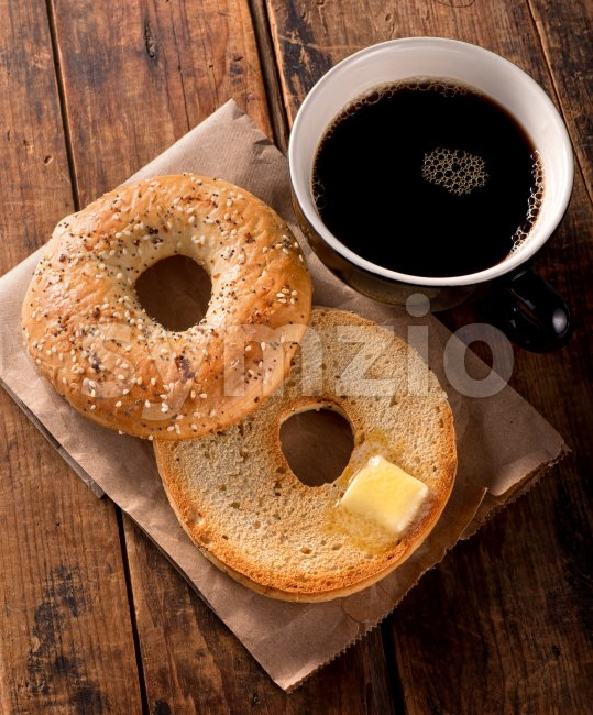 Toasted Bagel Stock Photo