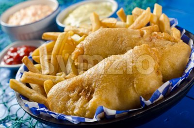 Two Piece Fish and Chips Stock Photo