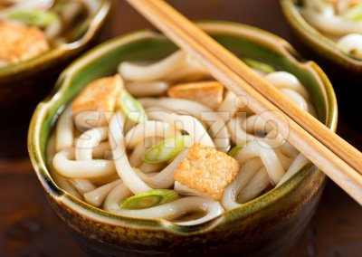 Udon Noodles with Tofu and Green Onion Stock Photo