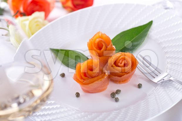 Smoked Salmon Roses Stock Photo
