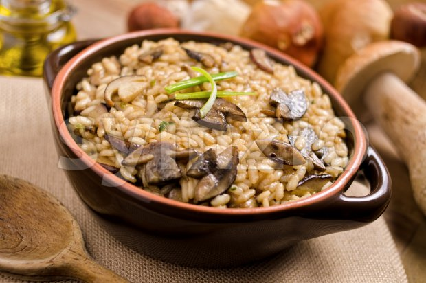 Wild Mushroom Risotto Stock Photo