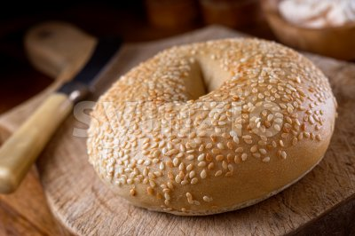 Sesame Seed Bagel Stock Photo