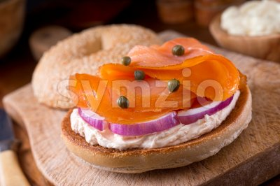 Smoked Salmon Bagel Stock Photo