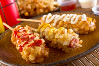 Korean Style Corn Dogs Stock Photo