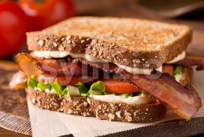 Bacon, Lettuce, and Tomato BLT Sandwich Stock Photo