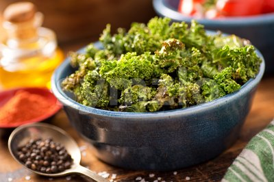 Baked Kale Chips Stock Photo