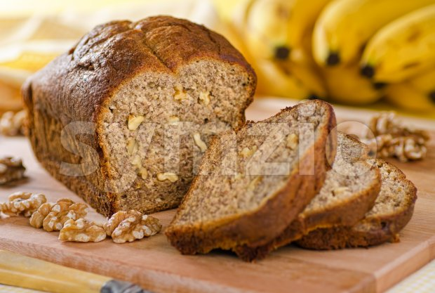 Banana Nut Loaf Stock Photo