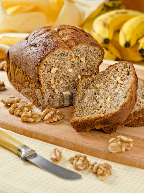 Bananan Nut Loaf Stock Photo
