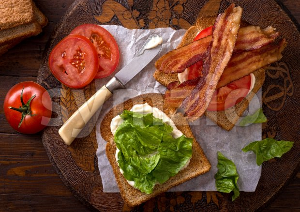 BLT Sandwich (Bacon, Lettuce, and Tomato) Stock Photo