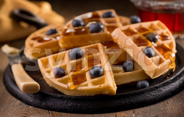 Blueberry Waffles Stock Photo