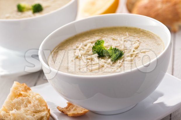 Broccoli Couscous Soup Stock Photo
