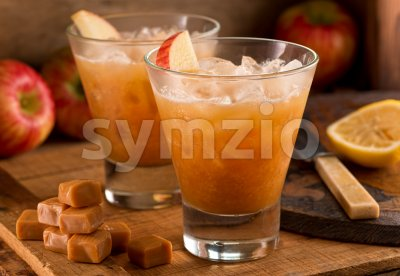 Caramel Apple Cider Cocktail Stock Photo