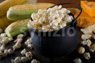 White Cheddar Kettle Corn Popcorn Stock Photo