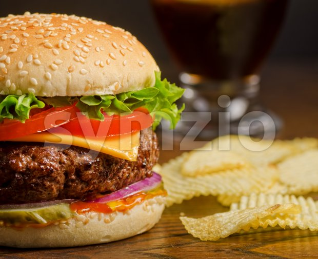 Cheeseburger and Chips Stock Photo