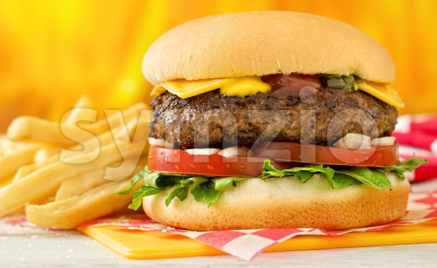 A classic style cheeseburger with beef, cheese, lettuce, tomatoe, onion, mustard, ketchup, and relish with french fries.