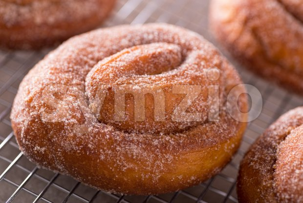 Cinnamon Swirl Donuts Stock Photo