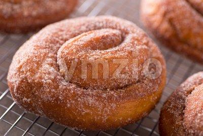 Cinnamon Swirl Donuts Stock Photo