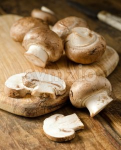 Crimini Mushrooms Stock Photo