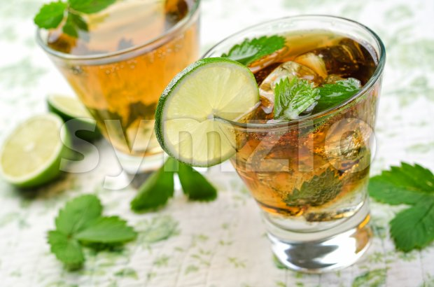 A delicious, refreshing Cuba Libre with lime and mint.