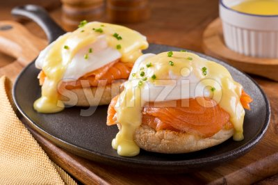Eggs Benedict with Smoked Salmon Stock Photo