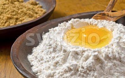 Flour Egg Well Stock Photo