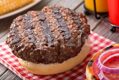 Barbecued Hamburger Stock Photo