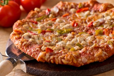 Grilled Chicken Pizza Stock Photo
