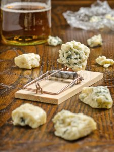 Blue Cheese with Mouse Trap Stock Photo