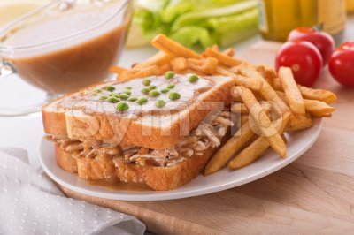 Hot Turkey Sandwich Stock Photo