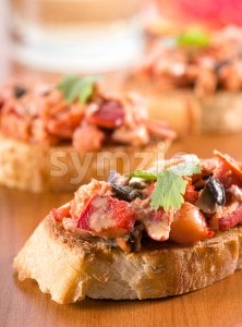 Lobster Crostini Stock Photo