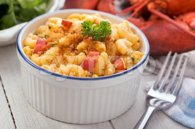 Lobster Macaroni and Cheese Stock Photo