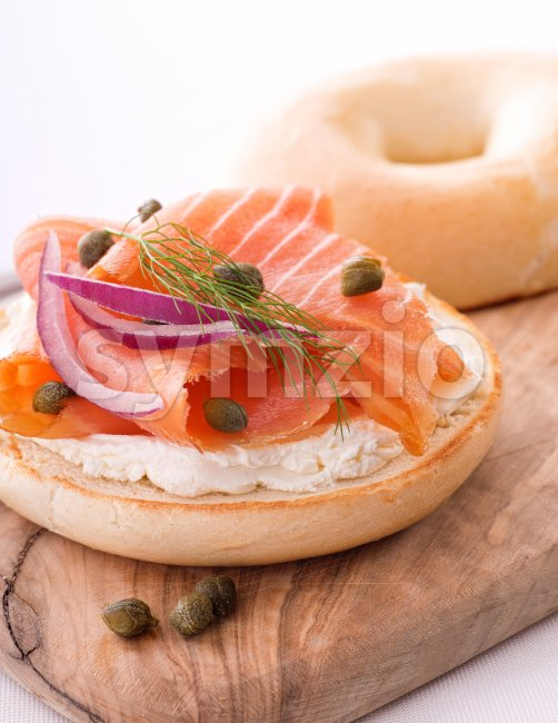Lox and Bagel with Cream Cheese Stock Photo